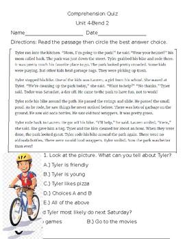 Comprehension Quiz, Unit 4, Bend 2