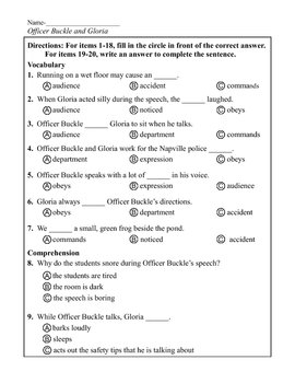 Comprehension Quiz for Officer Buckle and Gloria also suitable for ESL