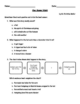 Comprehension Quiz for One Snowy Night by M Christina Butler