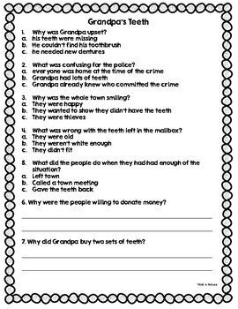 Comprehension Quizzes for Popular Mentor Texts Set 2 (9 Quizzes + Answer Keys)