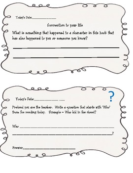 Comprehension: Read Aloud Response Journal
