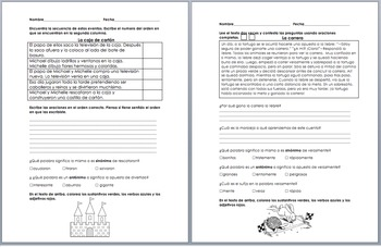 Comprehension Reading Passages Morning Work or Homework Spanish