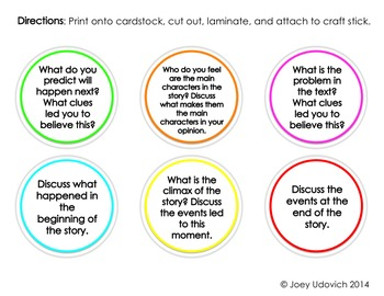 Comprehension Response Sticks {White Background Options Included!}