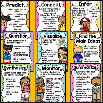Comprehension Reading Strategies Posters (UK & AUS English Format Included)
