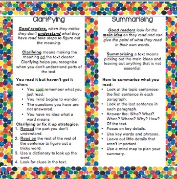 Comprehension: Reeading- Reciprocal Teaching Bookmarks-  Eric Carle Them