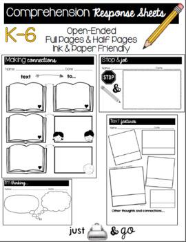 Comprehension Response Sheets