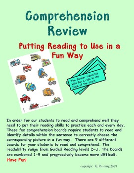Comprehension Review-Putting Reading to Use in a Fun Way