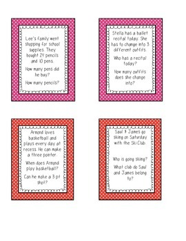 Comprehension Sentences focusing on WH Questions (Easy)