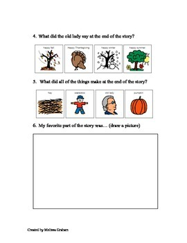 Comprehension Sheet (visuals): There was An Old Lady Who Swallowed Some Leaves