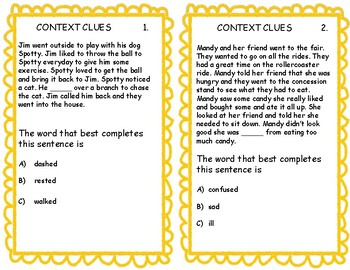 Comprehension Skills Cards Context Clues & Conclusion