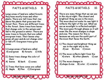 Comprehension Skills Cards Main Idea & Facts and Details