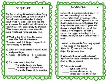 Comprehension Skills Cards Sequence & Inference