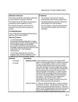 Comprehension Skills: Comparing and Contrasting Lesson Plan