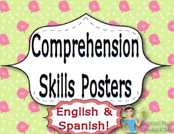 Comprehension Skills Posters In English and Spanish!