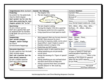 Reading Comprehension Skills Reference Page