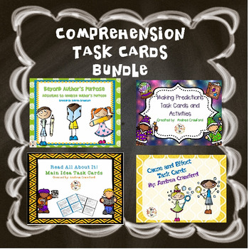 Comprehension Skills Task Card Bundle includes various task cards with a lot of critical thinking to help students with those tough comprehension skills.
