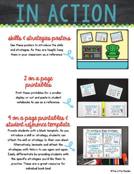 """Comprehension Skills and Strategies Anchor Charts with """"I Can"""" Statements"""
