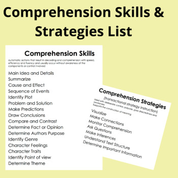Comprehension Skills and Strategies List by Amalia