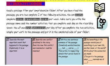 Comprehension Station Activity Sheet