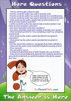 Comprehension Strategies - 3 Level Guides - 'Here' Question Stems