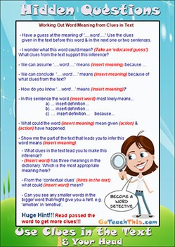 Comprehension Strategies - 3 Level Guides - 'Hidden' Question Stems