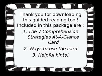 Guided Reading Comprehension Strategies At-A-Glance Card