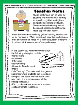 Comprehension Strategies Bookmarks for Students Printables