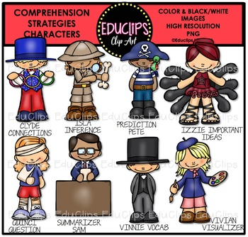 Comprehension Strategies Characters Clip Art Bundle {Educlips Clipart}