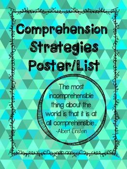 Comprehension Strategies Posters List