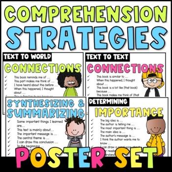 Comprehension Strategies Sentence Starters {Poster Set}: Happy Kids