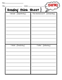 Comprehension Strategies-THINK sheet- Connect, Question, P