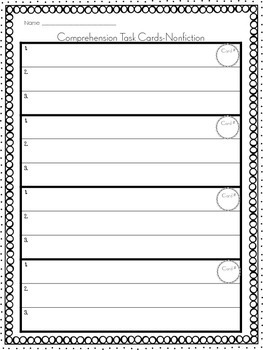 Comprehension Strategies Task Cards - Nonfiction