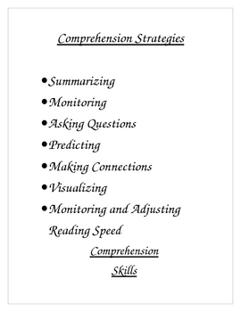 Comprehension Strategies a list!