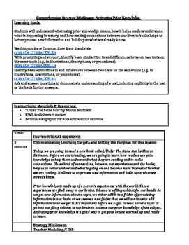 Comprehension Strategy Minilesson: Activating Prior Knowledge