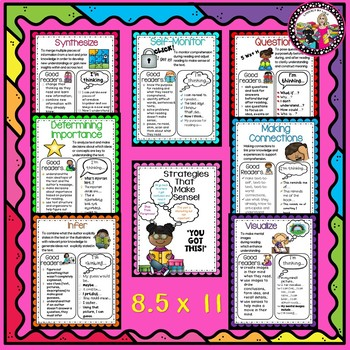 Comprehension Strategy Posters 2 sizes, Card & Teaching Tips!