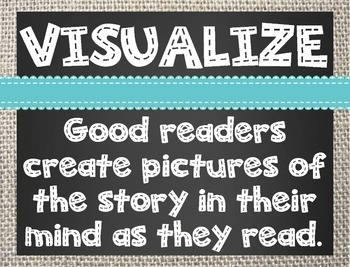 Comprehension Strategy Posters (Reading Street) Burlap and Chalkboard