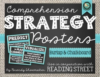 Comprehension Strategy Posters (Reading Street) Burlap and