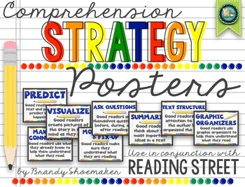 Comprehension Strategy Posters (Reading Street) Primary Colors