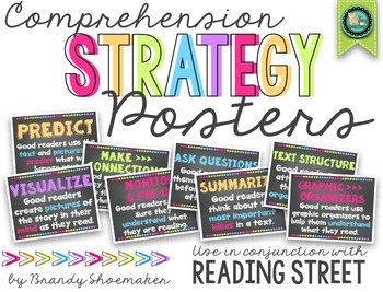 Comprehension Strategy Posters (Reading Street) White and Brights