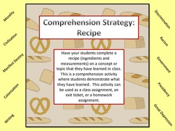 Comprehension Strategy - Make a Recipe With The Content