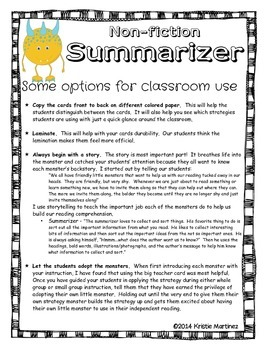 Monster Strategies {Non-fiction Summarizing} - Collect Them All