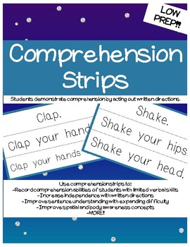 Comprehension Strips- AUTISM and Special Education