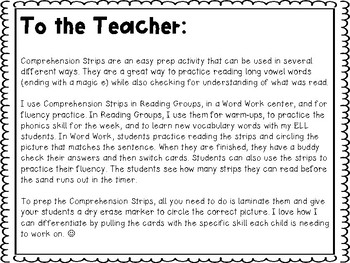 Comprehension Strips: Magic E Edition