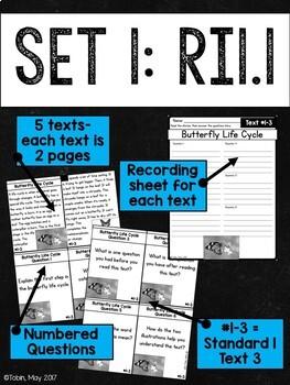 Comprehension Task Cards 1st Grade INFORMATIONAL Standards