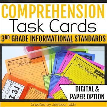 Comprehension Task Cards 3rd Grade INFORMATIONAL Standards