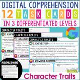 Digital and Printable Comprehension Task Cards: Character Traits