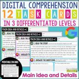 Digital & Printable Comprehension Task Cards: Main Idea and Details