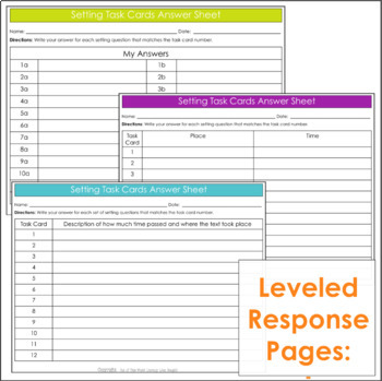 Comprehension Task Cards: Setting