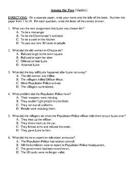 Comprehension Test - Among the Free (Haddix)