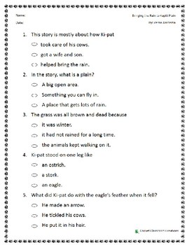 Comprehension Test: Bringing the Rain to Kapiti Plain - First or Second Grade